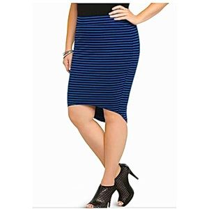 Torrid Stripes Blue & Black High Low Stretch Skirt